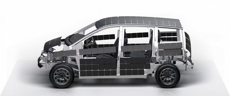 Gerendertes Bild vom Sion mit Fokus auf die Solarintegration